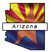 Arizona flag and outline