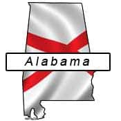 Alabama flag and outline