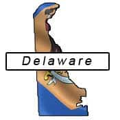Delaware flag and outline