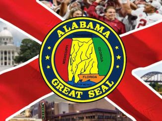 Alabama state flag and landmarks