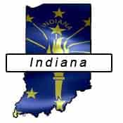 Indiana flag and outline
