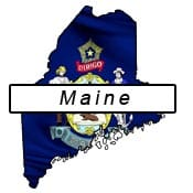 Maine Flag and Outline