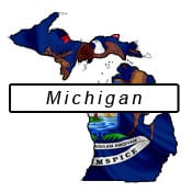 Michigan flag and outline