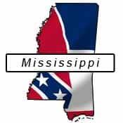 Mississippi flag and outline