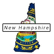 New Hampshire flag and outline