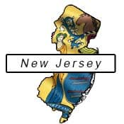 New Jersey flag and outline