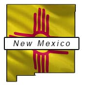 New Mexico flag and outline