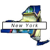 New York flag and outline