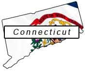 Connecticut flag and outline