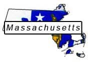 Massachusetts flag and outline