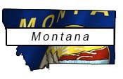 Montana flag and outline