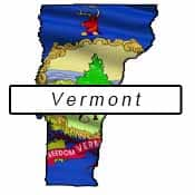 Vermont flag and outline