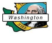 Washington outline and flag