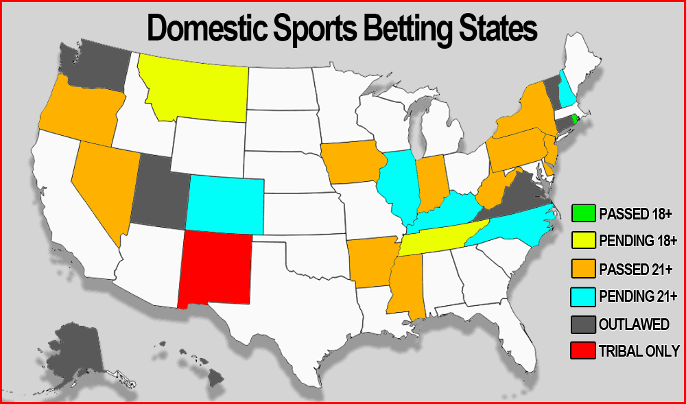 Domestic sports betting states
