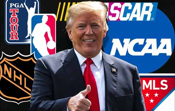 Trump with sport logos