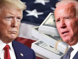 donald trump and joe biden in front of the american flag and stacks of money