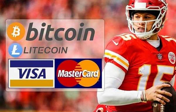 kc chiefs qb patrick mahomes with logos for visa mastercard bitcoin and litecoin